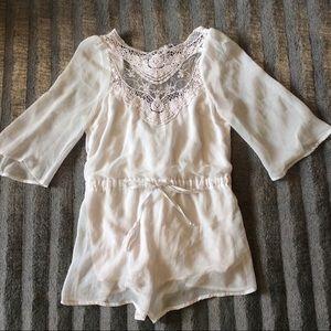 White Backless Crochet Romper